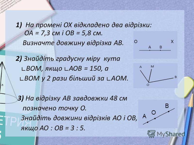 1) На промені ОХ відкладено два відрізки: ОА = 7,3 см і ОВ = 5,8 см. Визначте довжину відрізка АВ. 2) Знайдіть градусну міру кута ВOM, якщо AOB = 150, а ВOM у 2 рази більший за АOM. 3) На відрізку АВ завдовжки 48 см позначено точку О. Знайдіть довжин