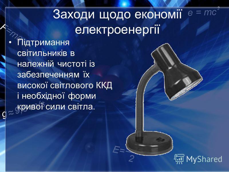 Заходи щодо економії електроенергії Підтримання світильників в належній чистоті із забезпеченням їх високої світлового ККД і необхідної форми кривої сили світла.