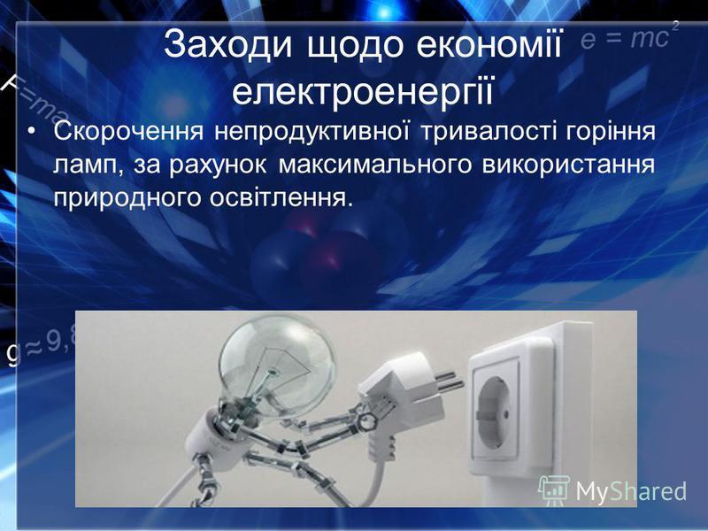 Заходи щодо економії електроенергії Скорочення непродуктивної тривалості горіння ламп, за рахунок максимального використання природного освітлення.