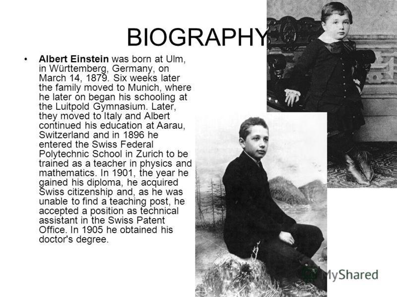 a biography of albert einstein in ulm germany
