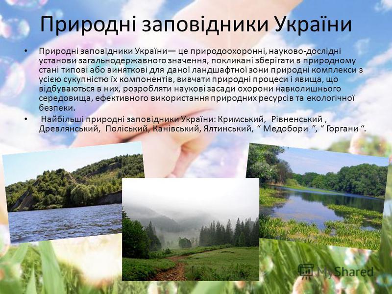 Природні заповідники України Природні заповідники України це природоохоронні, науково-дослідні установи загальнодержавного значення, покликані зберігати в природному стані типові або виняткові для даної ландшафтної зони природні комплекси з усією сук