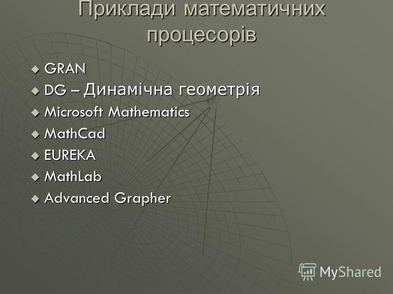Приклади математичних процесорів GRAN GRAN DG – Динамічна геометрія DG – Динамічна геометрія Microsoft Mathematics Microsoft Mathematics MathCad MathCad EUREKA EUREKA MathLab MathLab Advanced Grapher Advanced Grapher