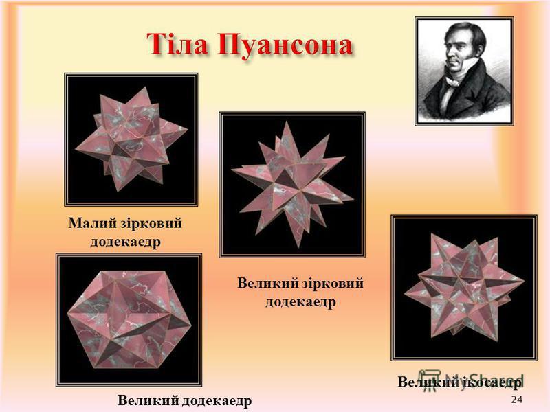 23 Архімедові тіла – напівправильні опуклі многогранники, в яких всі двогранні кути рівні, а грані - правильні многокутники різних типів
