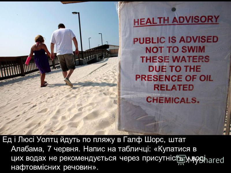 Ед і Люсі Уолтц йдуть по пляжу в Галф Шорс, штат Алабама, 7 червня. Напис на табличці: «Купатися в цих водах не рекомендується через присутність у воді нафтовмісних речовин».