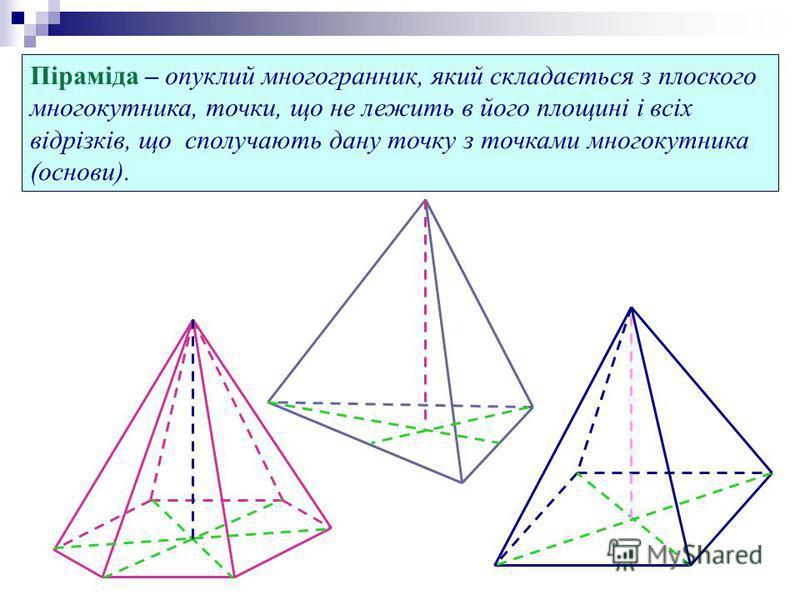 Піраміда – опуклий многогранник, який складається з плоского многокутника, точки, що не лежить в його площині і всіх відрізків, що сполучають дану точку з точками многокутника (основи).
