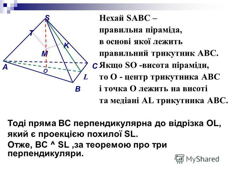 Нехай SАВС – правильна піраміда, в основі якої лежить правильний трикутник АВС. Якщо SО -висота піраміди, то О - центр трикутника АВС і точка О лежить на висоті та медіані АL трикутника АВС. M A S B C L K T Тоді пряма ВС перпендикулярна до відрізка O