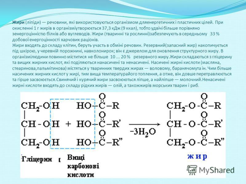Жири (ліпіди) речовини, які використовуються організмом дляенергетичних і пластичних цілей. При окисленні 1 г жирів в організміутворюється 37,3 кДж (9 ккал), тобто удвічі більше порівняно зенергоцінністю білків або вуглеводів. Жири (тваринні та росли