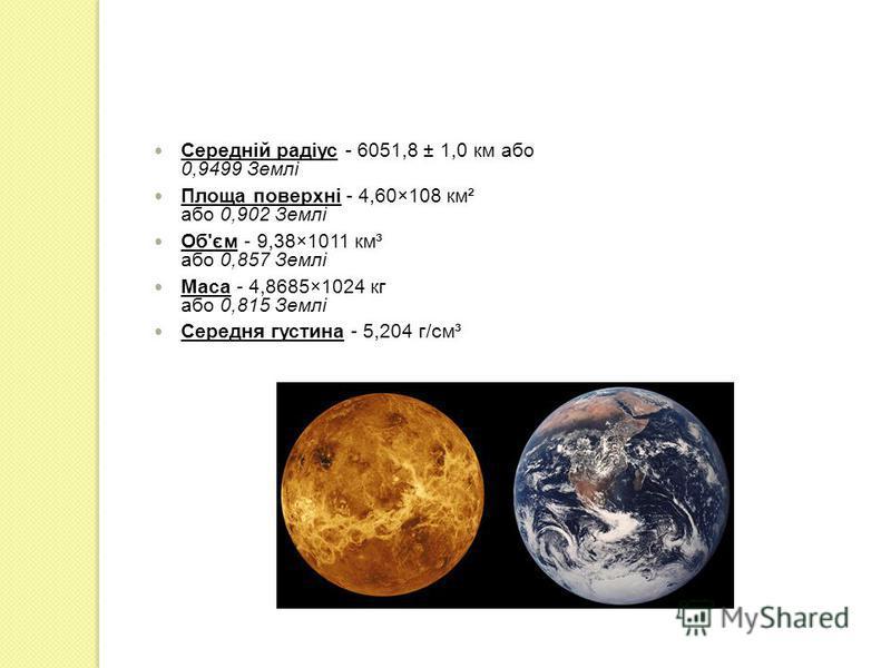 Середній радіус - 6051,8 ± 1,0 км або 0,9499 Землі Площа поверхні - 4,60×108 км² або 0,902 Землі Об'єм - 9,38×1011 км³ або 0,857 Землі Маса - 4,8685×1024 кг або 0,815 Землі Середня густина - 5,204 г/см³
