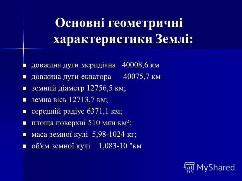 Основні геометричні характеристики Землі: довжина дуги меридіана 40008,6 км довжина дуги меридіана 40008,6 км довжина дуги екватора 40075,7 км довжина дуги екватора 40075,7 км земний діаметр 12756,5 км; земний діаметр 12756,5 км; земна вісь 12713,7 к