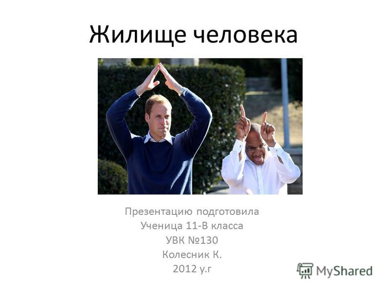 Жилище человека Презентацию подготовила Ученица 11-В класса УВК 130 Колесник К. 2012 у.г