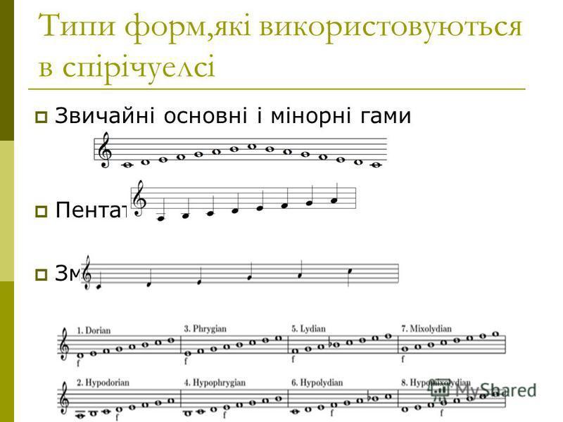 Типи форм,які використовуються в спірічуелсі Звичайні основні і мінорні гами Пентатоніки Змішані і модальних ритми