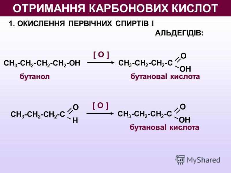 [ O ] 1.ОКИСЛЕННЯ ПЕРВІЧНИХ СПИРТІВ І АЛЬДЕГІДІВ: бутанол СН 3 -СН 2 -СН 2 -СН 2 -ОН О ОН СН 3 -СН 2 -СН 2 -С бутановаІ кислота [ O ] О ОН СН 3 -СН 2 -СН 2 -С бутановаІ кислота О Н СН 3 -СН 2 -СН 2 -С ОТРИМАННЯ КАРБОНОВИХ КИСЛОТ