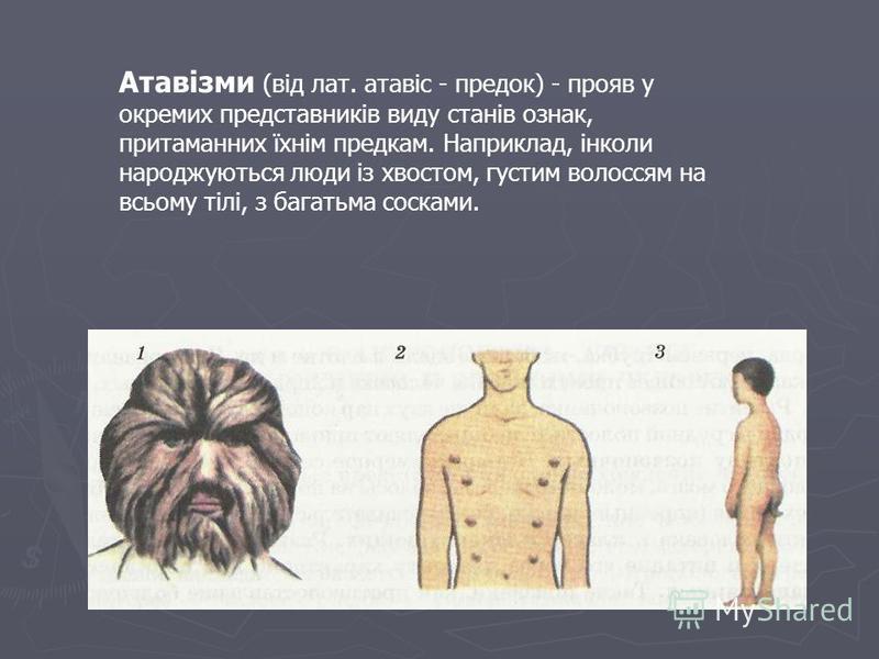 Атавізми (від лат. атавіс - предок) - прояв у окремих представників виду станів ознак, притаманних їхнім предкам. Наприклад, інколи народжуються люди із хвостом, густим волоссям на всьому тілі, з багатьма сосками.
