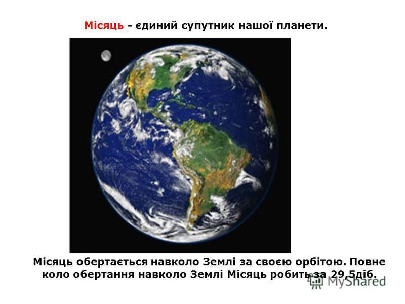 Місяць - єдиний супутник нашої планети. Місяць обертається навколо Землі за своєю орбітою. Повне коло обертання навколо Землі Місяць робить за 29,5діб.