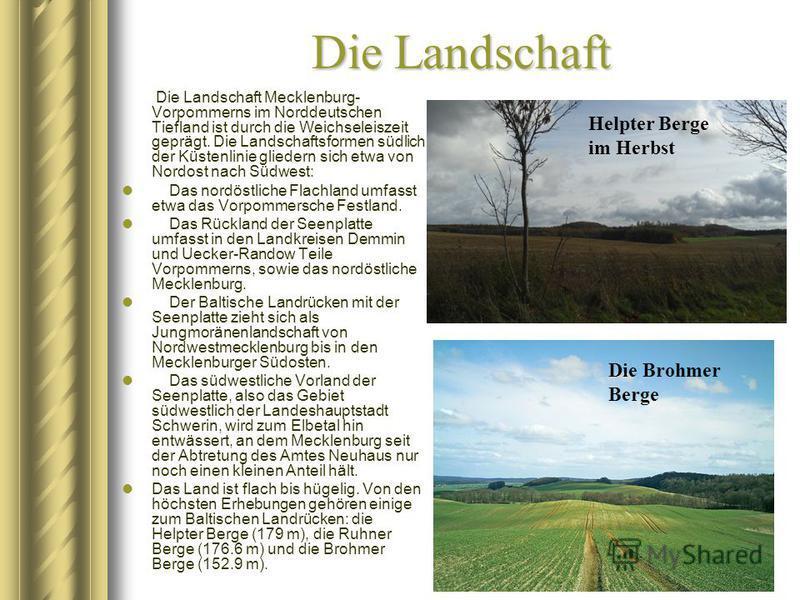 Die Landschaft Die Landschaft Mecklenburg- Vorpommerns im Norddeutschen Tiefland ist durch die Weichseleiszeit geprägt. Die Landschaftsformen südlich der Küstenlinie gliedern sich etwa von Nordost nach Südwest: Das nordöstliche Flachland umfasst etwa