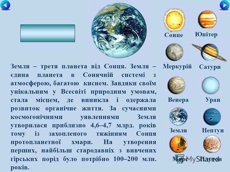 Сонце Меркурій Сатурн ВенераУран ЗемляНептун Юпітер МарсПлутон Земля – третя планета від Сонця. Земля – єдина планета в Сонячній системі з атмосферою, багатою киснем. Завдяки своїм унікальним у Всесвіті природним умовам, стала місцем, де виникла і од