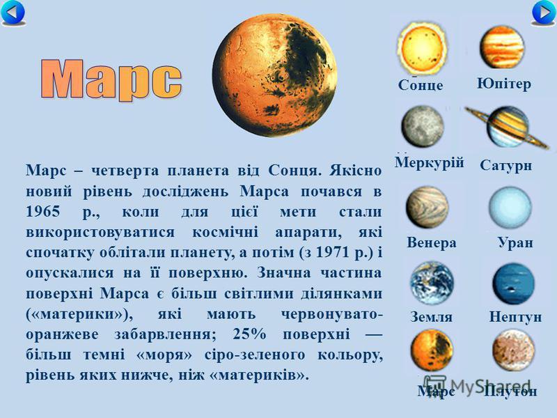 Сонце Меркурій Сатурн ВенераУран ЗемляНептун Юпітер МарсПлутон Марс – четверта планета від Сонця. Якісно новий рівень досліджень Марса почався в 1965 р., коли для цієї мети стали використовуватися космічні апарати, які спочатку облітали планету, а по