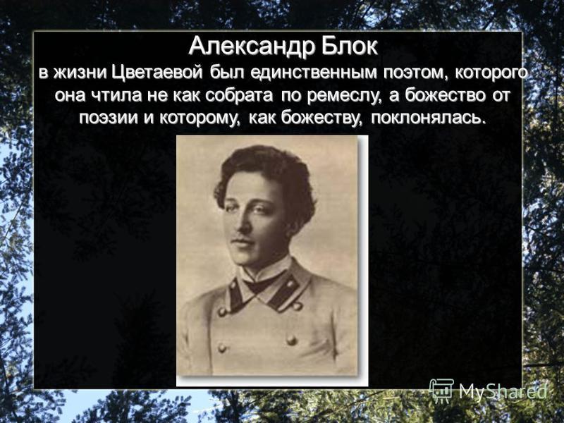 Александр Блок в жизни Цветаевой был единственным поэтом, которого она чтила не как собрата по ремеслу, а божество от поэзии и которому, как божеству, поклонялась.