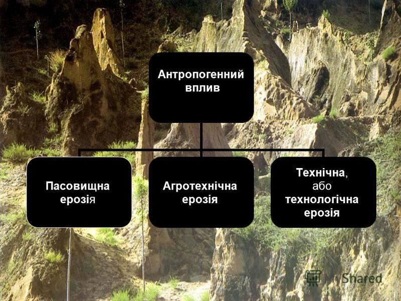 Антропогенний вплив Пасовищна ерозія Агротехнічна ерозія Технічна, або технологічна ерозія