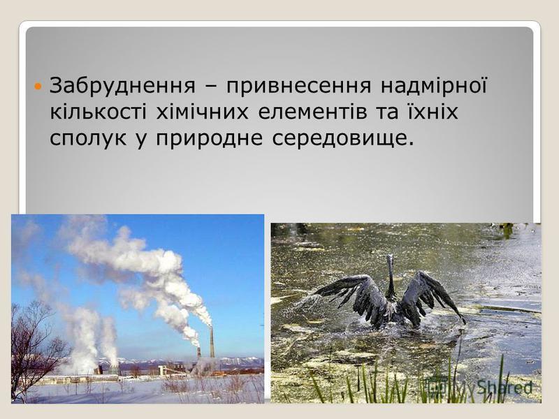 Забруднення – привнесення надмірної кількості хімічних елементів та їхніх сполук у природне середовище.