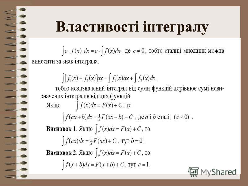 9 Властивості інтегралу
