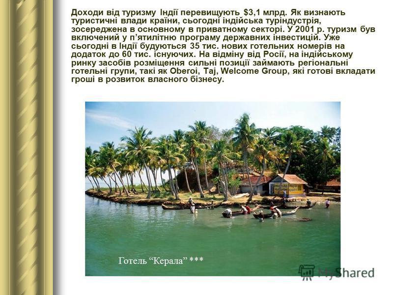 Доходи від туризму Індії перевищують $3,1 млрд. Як визнають туристичні влади країни, сьогодні індійська туріндустрія, зосереджена в основному в приватному секторі. У 2001 р. туризм був включений у пятилітню програму державних інвестицій. Уже сьогодні