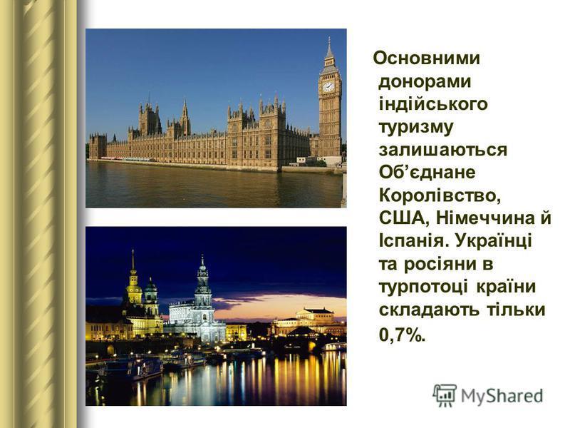 Основними донорами індійського туризму залишаються Обєднане Королівство, США, Німеччина й Іспанія. Українці та росіяни в турпотоці країни складають тільки 0,7%.