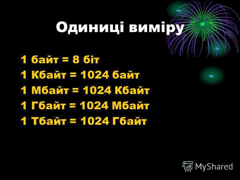 Одиниці виміру 1 байт = 8 біт 1 Кбайт = 1024 байт 1 Мбайт = 1024 Кбайт 1 Гбайт = 1024 Мбайт 1 Тбайт = 1024 Гбайт