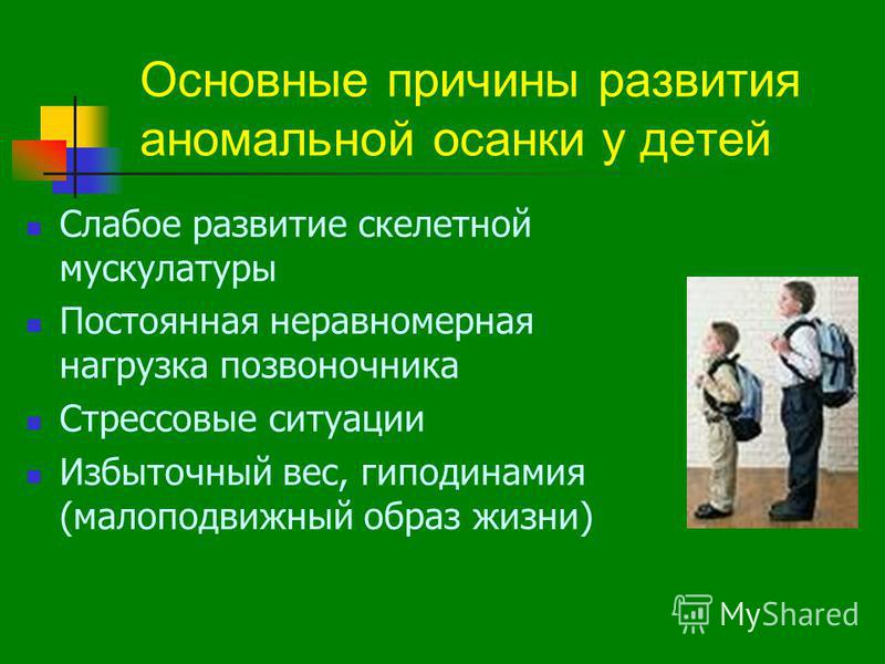 Основные причины развития аномальной осанки у детей Слабое развитие скелетной мускулатуры Постоянная неравномерная нагрузка позвоночника Стрессовые ситуации Избыточный вес, гиподинамия (малоподвижный образ жизни)
