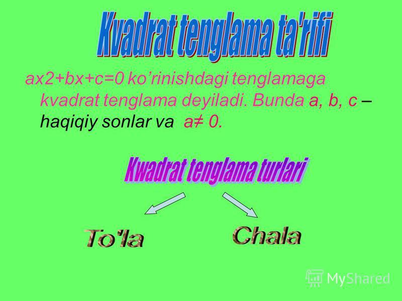 ax2+bx+c=0 korinishdagi tenglamaga kvadrat tenglama deyiladi. Bunda a, b, c – haqiqiy sonlar va a 0.