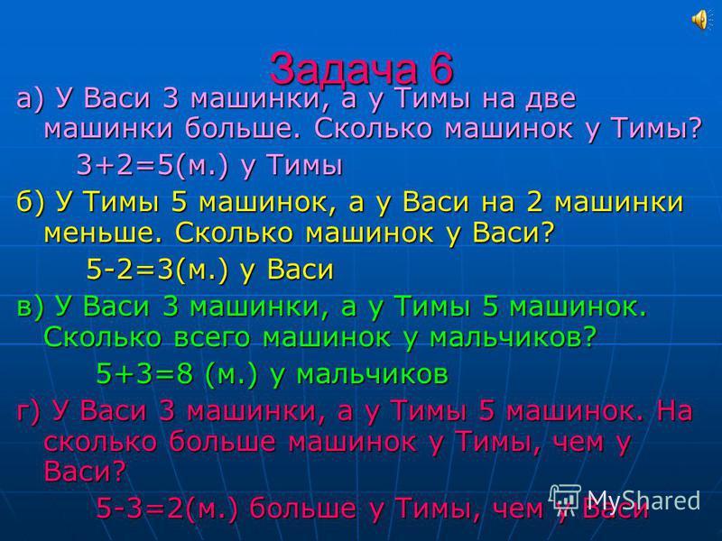 Задача 5 Маша съела 6 печений, а её сестра на три печенья меньше. Сколько всего печений съели сёстры? Маша съела 6 печений, а её сестра на три печенья меньше. Сколько всего печений съели сёстры? 1) 6-3=3(п.) 1) 6-3=3(п.) 2) 6+3=9(п.) 2) 6+3=9(п.) Отв