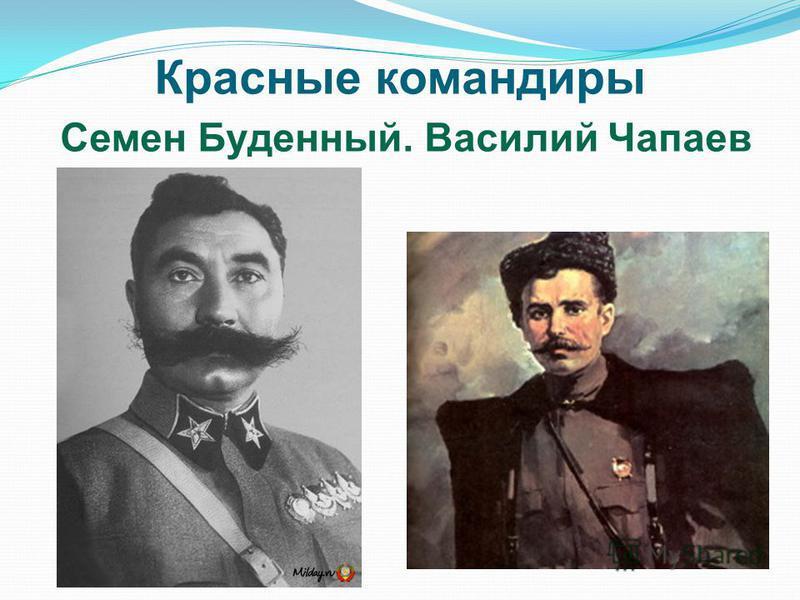 Красные командиры Семен Буденный. Василий Чапаев