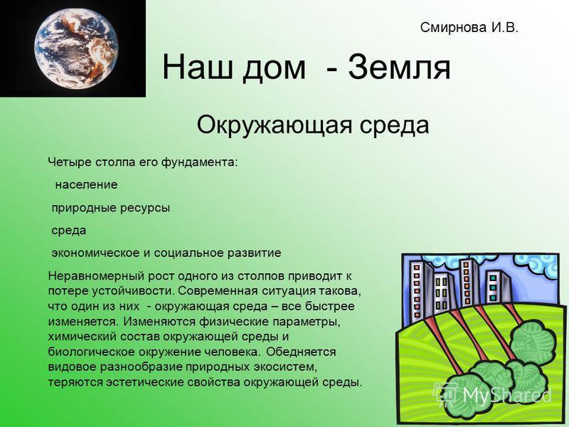 Наш дом - Земля Окружающая среда Четыре столпа его фундамента: население природные ресурсы среда экономическое и социальное развитие Неравномерный рост одного из столпов приводит к потере устойчивости. Современная ситуация такова, что один из них - о
