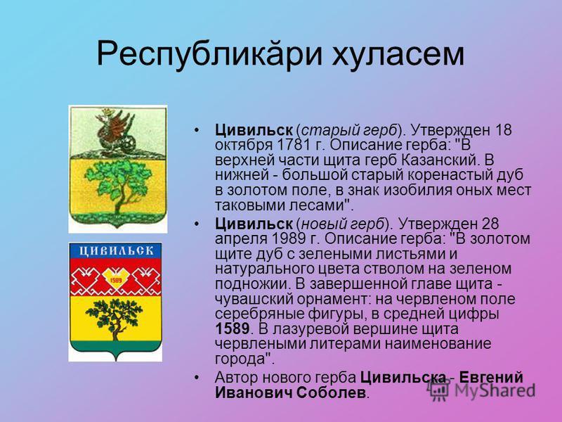 Республикăри хуласем Цивильск (старый герб). Утвержден 18 октября 1781 г. Описание герба: