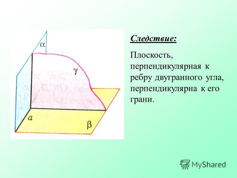 Следствие: Плоскость, перпендикулярная к ребру двугранного угла, перпендикулярна к его грани.
