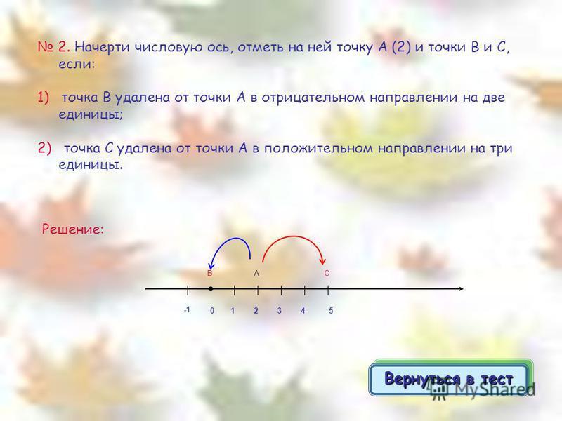 2. Начерти числовую ось, отметь на ней точку А (2) и точки В и С, если: 1) точка В удалена от точки А в отрицательном направлении на две единицы; 2) точка С удалена от точки А в положительном направлении на три единицы. Решение: 0 21 АВ 345 С Вернуть