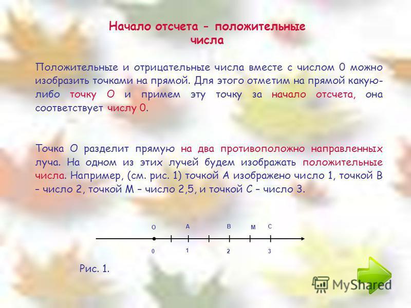 Начало отсчета - положительные числа Положительные и отрицательные числа вместе с числом 0 можно изобразить точками на прямой. Для этого отметим на прямой какую- либо точку О и примем эту точку за начало отсчета, она соответствует числу 0. Точка О ра