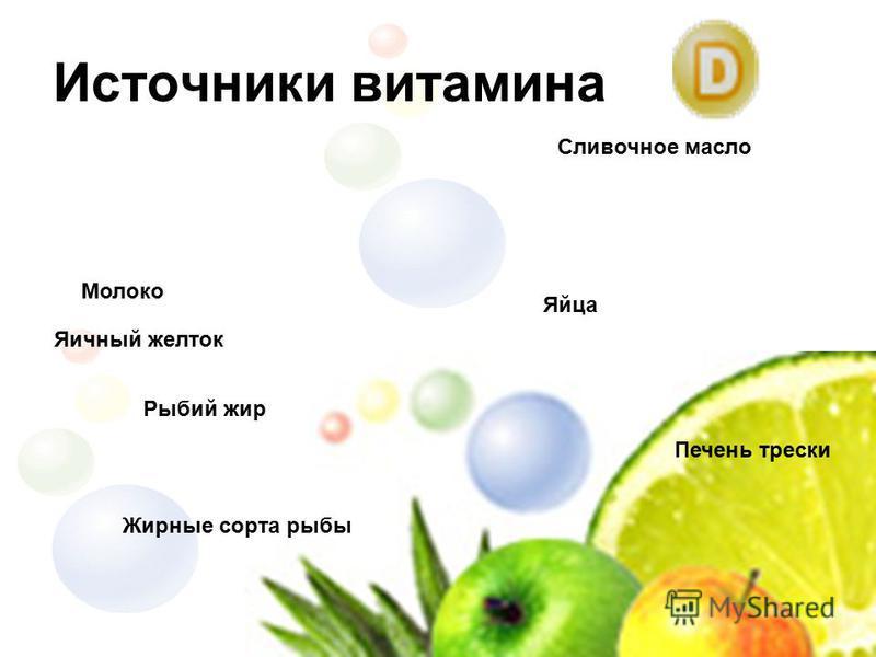 Источники витамина Сливочное масло Жирные сорта рыбы Рыбий жир Яйца Печень трески Молоко Яичный желток