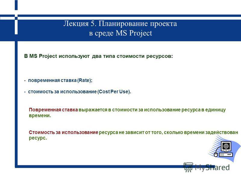 Лекция 5. Планирование проекта в среде MS Project В MS Project используют два типа стоимости ресурсов: - повременная ставка (Rate); - стоимость за использование (Cost Per Use). Повременная ставка выражается в стоимости за использование ресурса в един