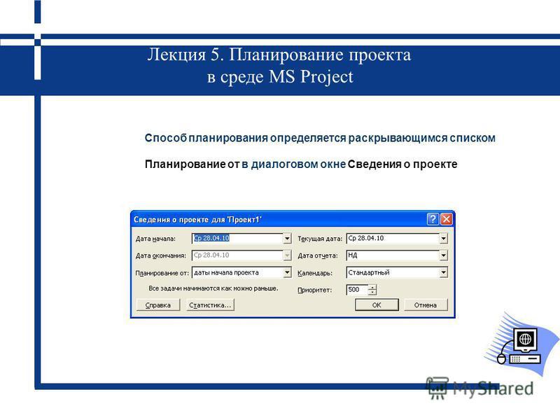 Лекция 5. Планирование проекта в среде MS Project Способ планирования определяется раскрывающимся списком Планирование от в диалоговом окне Сведения о проекте