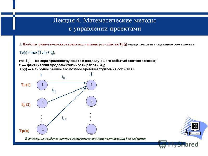 Лекция 4. Математические методы в управлении проектами 1 2 n 2 m 1...... i j Тр(1) Тр(2) Тр(n) t 21 t 11 t n1 1. Наиболее раннее возможное время наступления j-го события Tp(j) определяется из следующего соотношения: Tp(j) = max{Tp(i) + t ij }, где i,