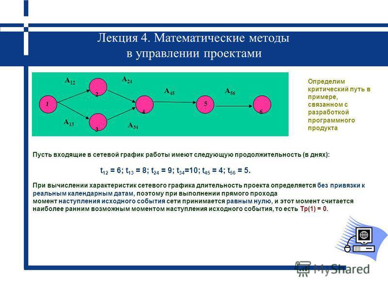 Лекция 4. Математические методы в управлении проектами Пусть входящие в сетевой график работы имеют следующую продолжительность (в днях): При вычислении характеристик сетевого графика длительность проекта определяется без привязки к реальным календар
