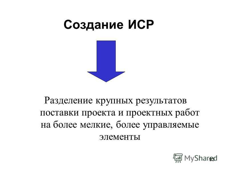 92 Создание иерархической структуры работ (ИСР) Work Breakdown Structure (WBS).