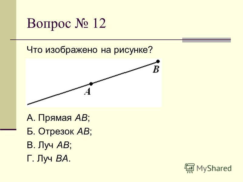 Вопрос 12 Что изображено на рисунке? А. Прямая АВ; Б. Отрезок АВ; В. Луч АВ; Г. Луч ВА.