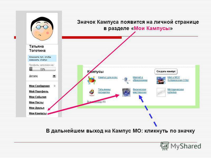 Значок Кампуса появится на личной странице в разделе «Мои Кампусы» В дальнейшем выход на Кампус МО: кликнуть по значку