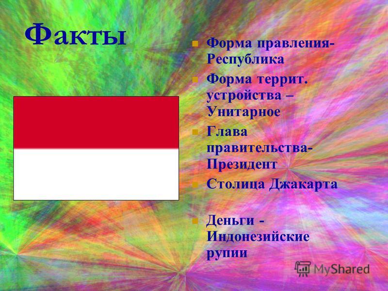 Факты Форма правления- Республика Форма терри. устройства – Унитарное Глава правительства- Президент Столица Джакарта Деньги - Индонезийские рупии
