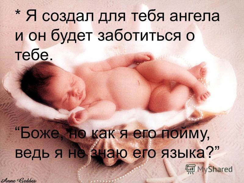 * Я создал для тебя ангела и он будет заботиться о тебе. Боже, но как я его пойму, ведь я не знаю его языка?