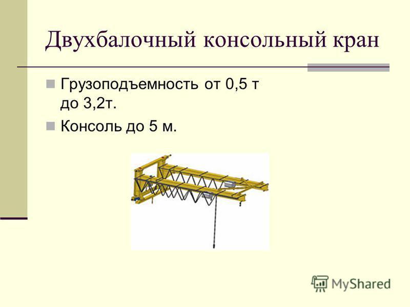 Двухбалочный консольный кран Грузоподъемность от 0,5 т до 3,2 т. Консоль до 5 м.