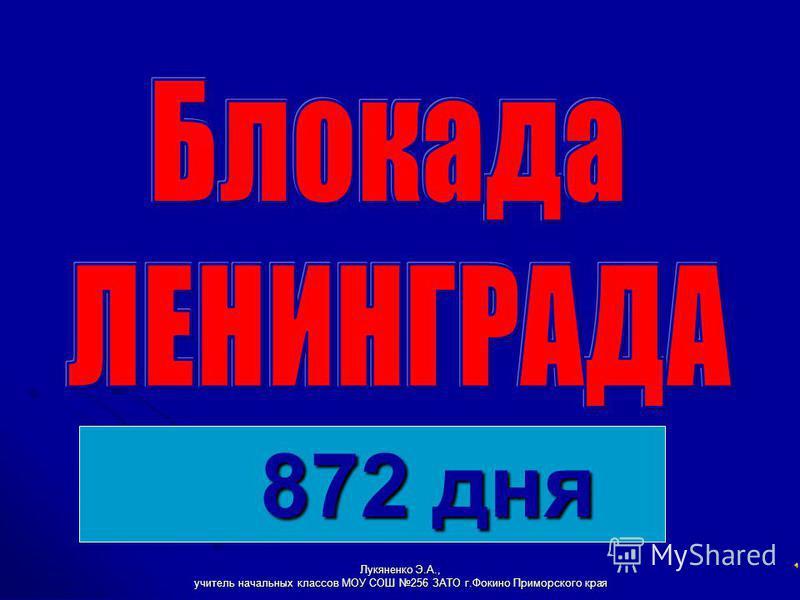 Лукяненко Э.А., учитель начальных классов МОУ СОШ 256 ЗАТО г.Фокино Приморского края 872 дня