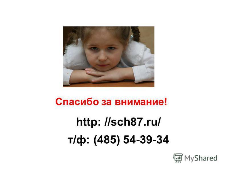 Спасибо за внимание! http: //sch87.ru/ т/ф: (485) 54-39-34